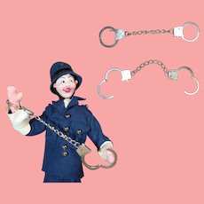Vintage Tiny Metal Handcuffs for Your Policeman Doll!