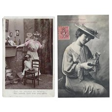 2 Beautiful Antique Real Photo French Postcards!