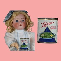 Vintage Doll Sized Tin Litho Libby's Spinach Sample Food Can!