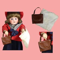 Darling Vintage Oil Cloth Purse & Hankie for Bleuette Size Doll!
