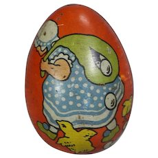Vintage c1930s Tin Litho German Easter Egg Candy Container!