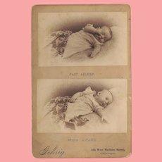 Unique Antique Cabinet Card Photo Baby Asleep & Awake!