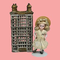 Antique Cast Iron Bank Skyscraper Highrise Building! Cute Doll Prop!