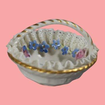 Antique Fashion Doll Von Schierholz German Elfinware Basket w Applied Flowers!
