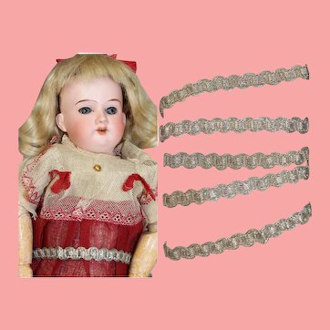 Lovely Antique c1880s Metallic Silver Braid Trim for Doll Clothing!