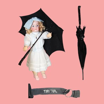 Antique c1900s Tiny Tot Child's Doll Parasol Umbrella!