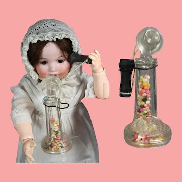 Vintage 1930s Doll Size! Candlestick Telephone Candy Container
