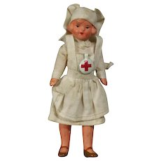 Antique German All Bisque Nurse Doll w Red Cross Pin!