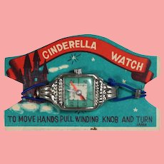 Old Store Stock! Vintage Cinderella Toy Watch on Orig Card!