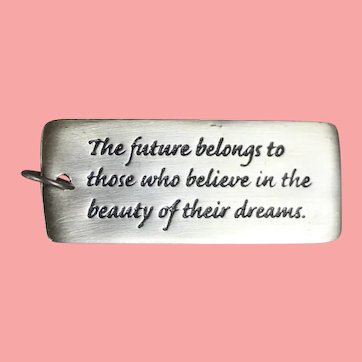 Sterling Silver Artist Inspirational Pendant Eleanor Roosevelt Quote