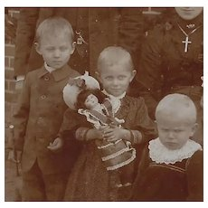 Antique Cabinet Card Photo Family Girl Holding Bisque Doll!