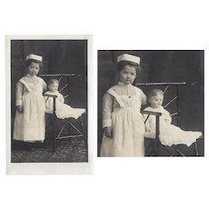 Rare! Antique Real Photo Nurse Little Girl w Martha Chase Doll!