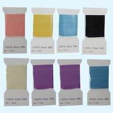 8 Unused Packs! Yards 100% Pure Silk Ribbon for Sewing Doll Clothes!