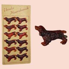 Vintage c1940s Card Faux Tortoise Shell German Dog Spaniel Barrettes!
