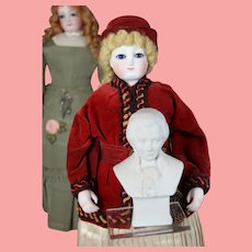 Antique Doll Sized German Bisque Mozart Bust for Dolly's Piano!