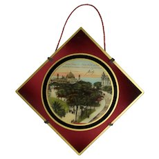 Antique c1910s French Glass Hanging Picture - Nice, France Pier & Casino!