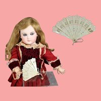 Antique German Mini Celluloid Doll Folding Fan!