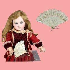 Antique German Mini Celluloid Doll Folding Fan!