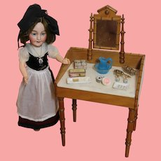 Antique French Doll Faux Bamboo Vanity Dressing Table w Marble Top!