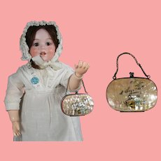Antique Doll Mother of Pearl Shell Accordion Purse w Flowers!