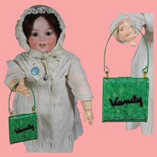 """Darling! Vintage Green Celluloid Doll Purse Says """"Vanity"""""""