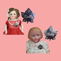 2 Darling Vintage 1950s DOLLY & BABY Pins for your Doll to Wear