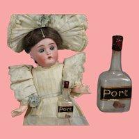 Antique Blown Glass Doll Size Bottle of Port!