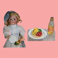 Antique German Doll Apple Juice, Fruit, Enamel Plate!
