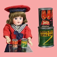 Darling Vintage French Bleuette Doll Sized Cans Food!