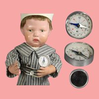 Old Store Stock! Vintage Mini Japan Doll Sized Compass w Mirror!