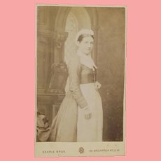 Antique Small CDV Photo of Lady Dressed as Maid