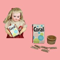 Vintage Dutch Mini Doll Laundry Detergent w Mini Tub Clothespins!