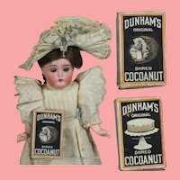 Antique Mini Doll Sized Sample Advertising Box Dunham's Cocoanut!