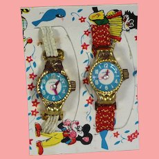 2 Vintage Toy Watches on Original Card!