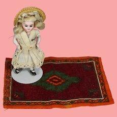 Antique Dollhouse Doll Size Tobacco Felt Rug Carpet!