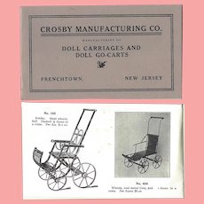 Crosby Doll Carriages Catalog Reprint!