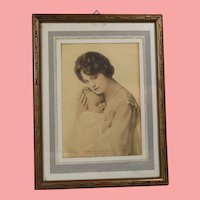 Beautiful! Antique Framed Photo Mother w Infant