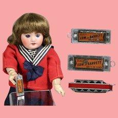 Vintage Mini Doll Sized Harmonica w Political Advertisement!