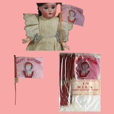 1950s Old Store Stock Mini HAPPY BIRTHDAY Doll Sized Flags MIP from Japan
