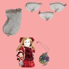 5 Antique Small Doll Sized Metallic Mesh Bags for Doll Accessories!