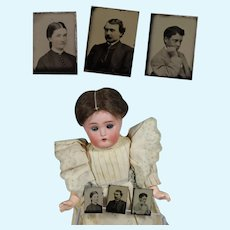 Antique Civil War Doll Size Dollhouse Tintypes of Family!