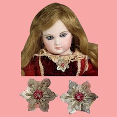 2 Antique Metallic French Bullion Star Appliques! Great for Doll Clothes!