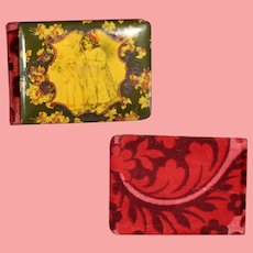 Lovely! Antique 1907 Victorian Celluloid Autograph Book w Two Girls!