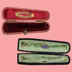 2 Antique French Cigarette Case Holder Cases w Velvet Interior