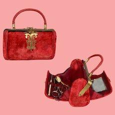 Antique French Sewing Etui Velvet Purse Sac!