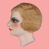 Antique Store Stock French Flapper Boudoir Unused Doll Face!