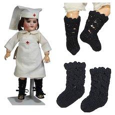 "Black Knit Doll Socks - Fit Bleuette! 2.5 "" Long - LAST PAIR!"