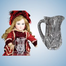 Lovely French Fashion Doll Cut Glass Crystal Mini Pitcher!