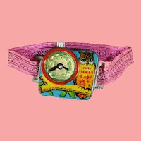 Darling Vintage Tin Litho Doll Toy Child Watch! OWL