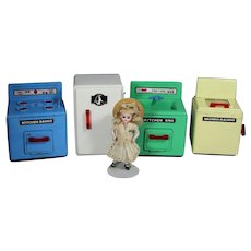 Vintage Tin Doll Size Kitchen Sink & Range Fridge Washer Appliances!